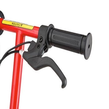Twist grip trottle and hand operated front brake